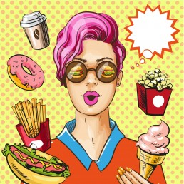 woman and junk food